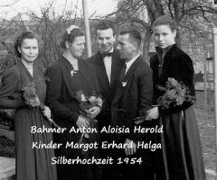 Bahmer Anton, Aloisia Herold, Margot, Erhard, Helga Silberhochzeit 1954