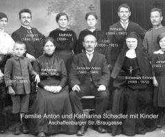 Schadler Anton mit Familie 1914 Aschaffenburger Str Braugasse