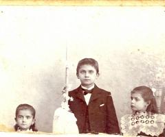 Weigand Ludwig Kommunion 1902 mit Schwester Luise und Magdalena
