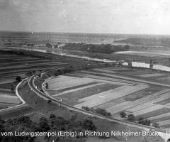 Bischberg Ludwigstempel Blick auf Nilkeimer Brücke um 1930