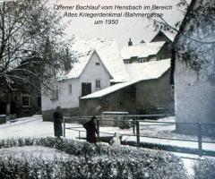 Marienstr Altes Kriegerdenkmal Hensbach offener Bachlauf 1950
