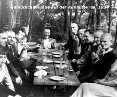Almhütte Gemütliche Runde um 1934